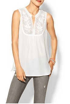 And, while this isn't necessarily a basic per say, I had to throw it on because this lace sleeveless top transitions perfectly from summer to fall. And you can dress it up or down.  I can't decide if I'm going to order it in white or black! http://piperlime.gap.com/browse/product.do?cid=53982&vid=1&pid=931756012
