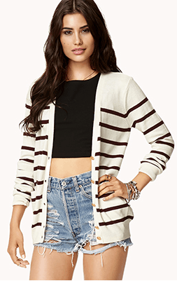 Striped cardigan that goes with everything - well, except that striped maxi below. http://www.forever21.com/Product/Product.aspx?BR=f21&Category=sweater&ProductID=2072810805&VariantID=