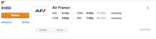 What the flight would cost in $