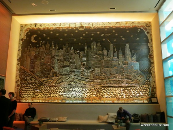 Giant landscape of Manhattan in the lobby