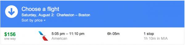 The Charleston-Boston flight is a winner!
