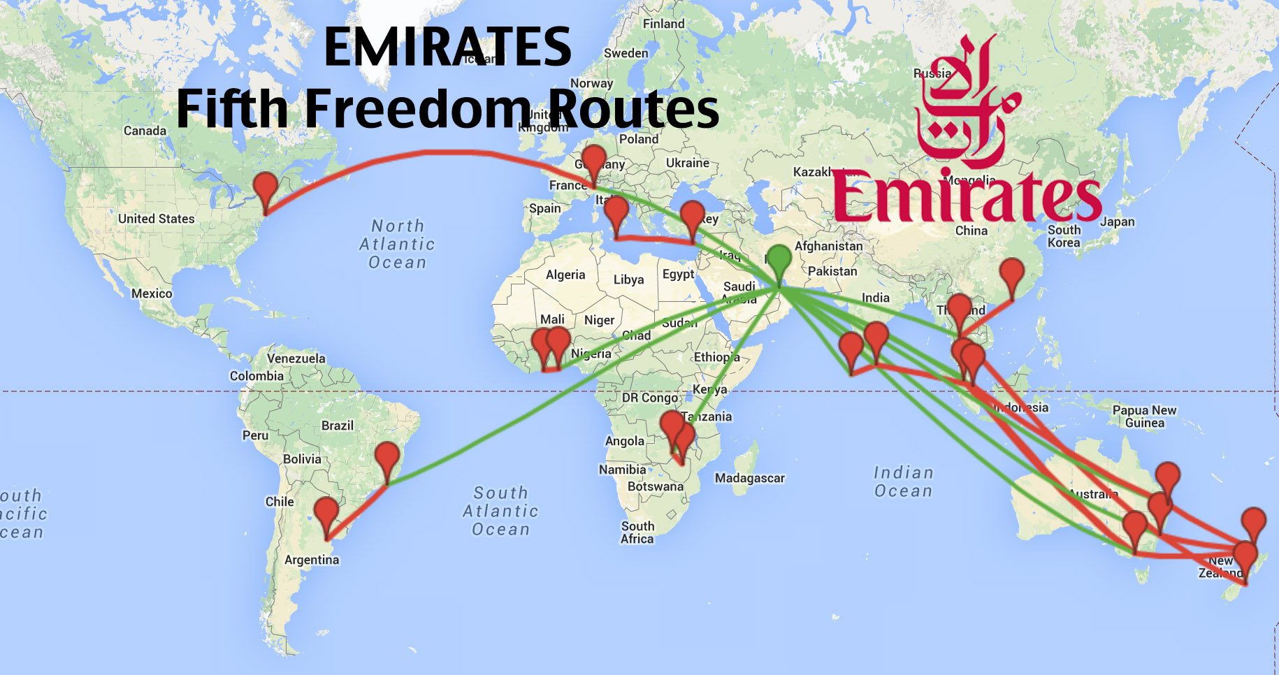 Top 16 Longest Emirates Fifth Freedom Routes Coming To A