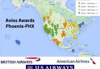 Avios Award Map from Phoenix PHX