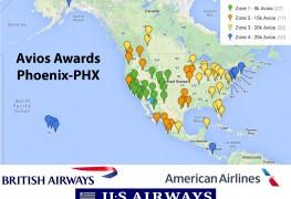 Avios Award Map from Phoenix PHX