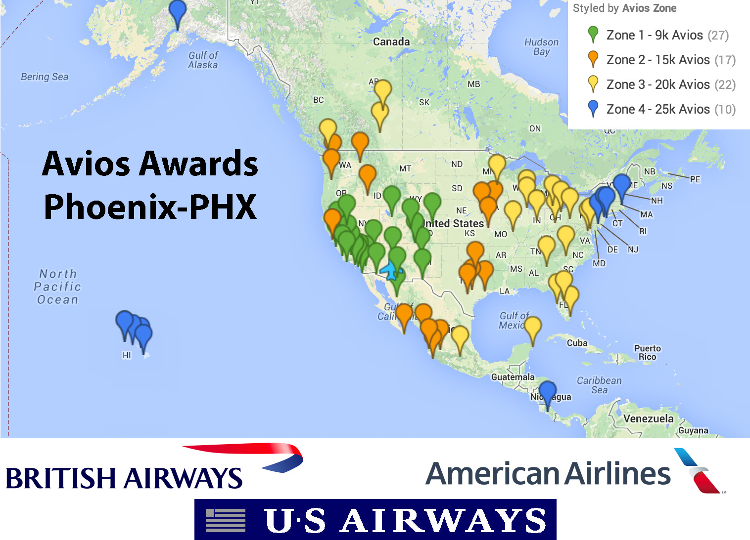 US Airways Flights Using British Airways Avios Out Of PhoenixPHX - Phoenix in us map