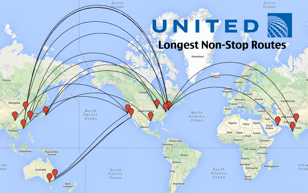 Top Longest United Airlines Flights In The World Weekend Blitz - Us airways direct flights map