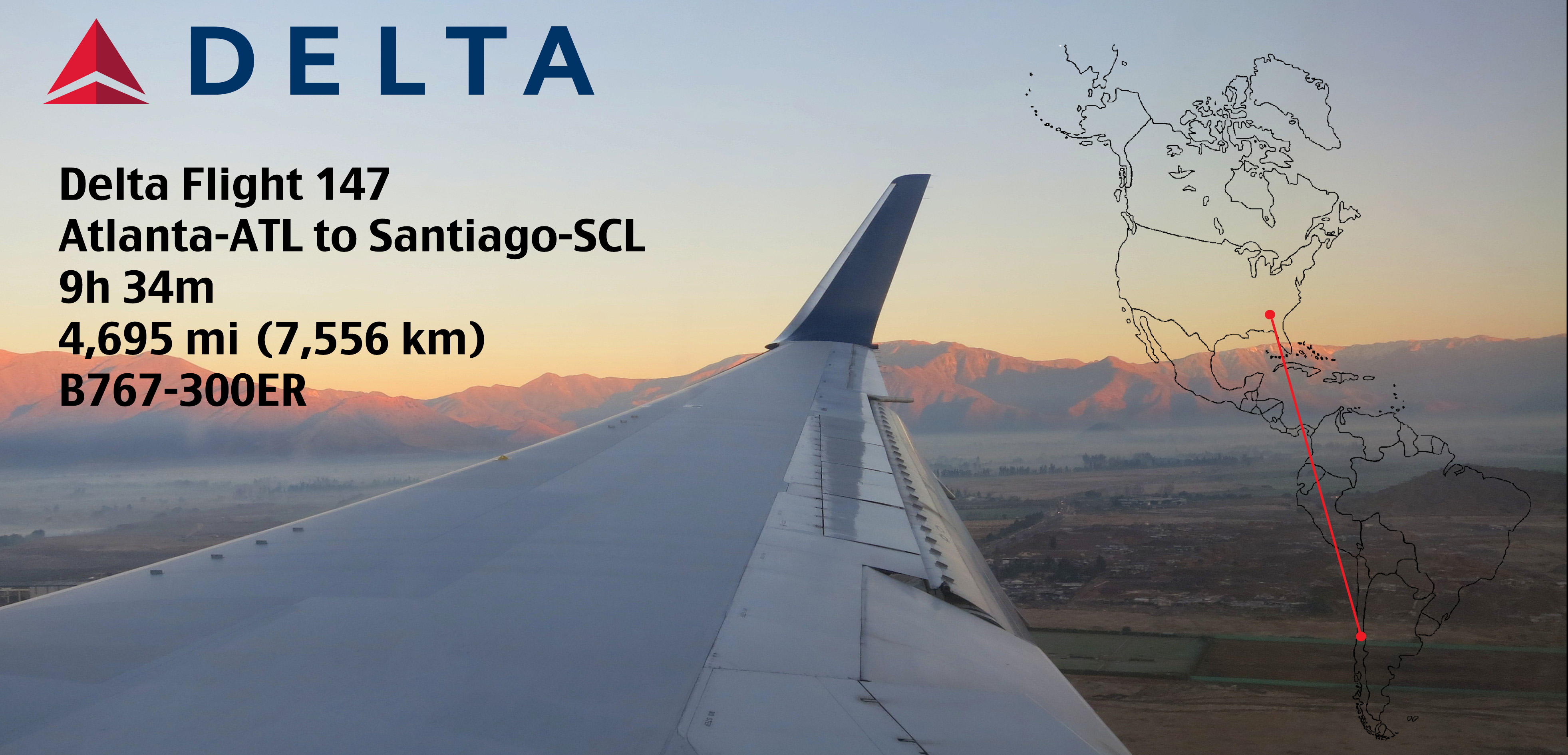 Delta Flight 147 Atlanta Atl To Santiago Scl B767 300er Weekend Blitz