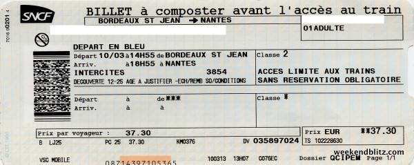 2013-03-10 - SNCF Intercities Train 3854 Bordeaux-Nantes