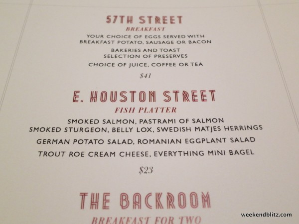 Back Room's menu