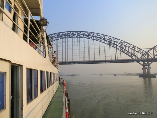 Passing under the Yadanabon Bridge that links Sagaing to Mandalay/Amarapura