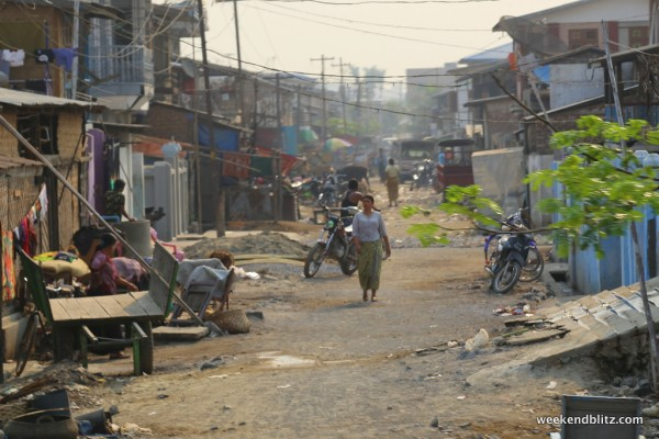 Small village along the tracks near Mandalay