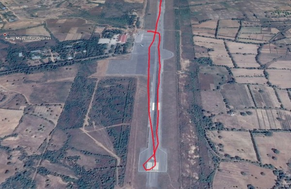 Takeoff down runway 36: Nyaung U-NYU airport
