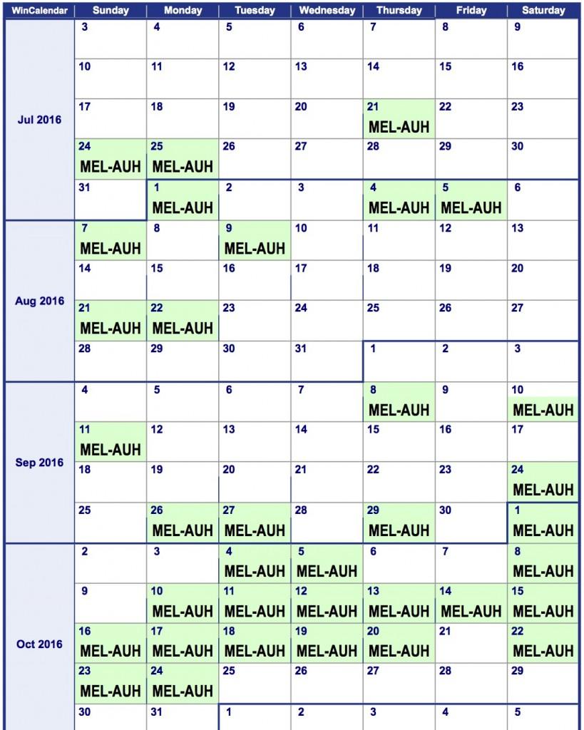 2016 Weekly Calendar MEL-AUH