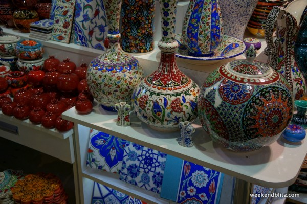 Ceramics for sale inside the Grand Bazaar